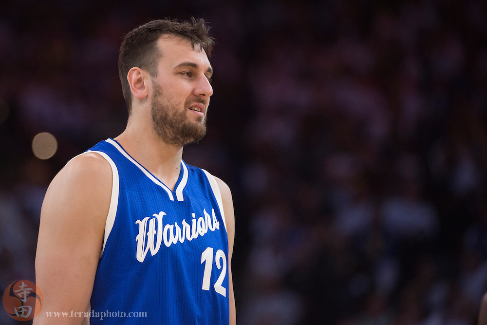 December 25, 2015; Oakland, CA, USA; Golden State Warriors center Andrew Bogut (12) during the second quarter in a NBA basketball game on Christmas against the Cleveland Cavaliers at Oracle Arena. The Warriors defeated the Cavaliers 89-83.