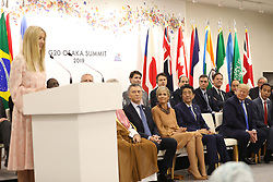 """Ivanka Trump (Advisor to the President of the United States), Mauricio Macri (Argentina's President), Queen Maxima of the Netherlands, Shinzo Abe (Japanese Prime Minister), Ivanka Trump (Advisor to the President of the United States), Donald J. Trump (US President), Joko Widodo (Indonesia's President) - Side event organized by the Japanese Prime Minister, on the theme """"Promoting the place of women at work"""" at the Intex Osaka congress center at the G20 summit in Osaka, Japan, on June 29, 2019. Photo by Dominque Jacovides/Pool/ABACAPRESS.COM"""