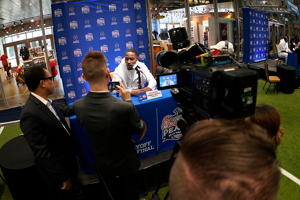 Parnell Motley #11 of the Oklahoma Sooners speaks with the media at Media Day on Thursday, Dec. 26, in Atlanta. LSU will face Oklahoma in the 2019 College Football Playoff Semifinal at the Chick-fil-A Peach Bowl. (Paul Abell via Abell Images for the Chick-fil-A Peach Bowl)
