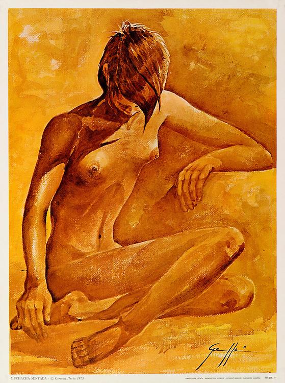 """Cat. #15 - Print of watercolor painting of a young woman nude seated on the floor. Printed in Italy on heavy weight, smooth stock.<br /> Paper size is 10 1/4 x 13 1/2"""". Image size is approximately 9 1/2x 12 3/4"""" <br /> Cat. #15 - Impresión de una pintura en acuarela de una joven desnuda sentada en el piso. Impreso en Italia en papel liso y pesado,<br /> Tamaño del papel es 10 1/4 x 13 1/2"""". Tamaño de la imagen es aproximadamente 9 1/2x 12 3/4"""""""
