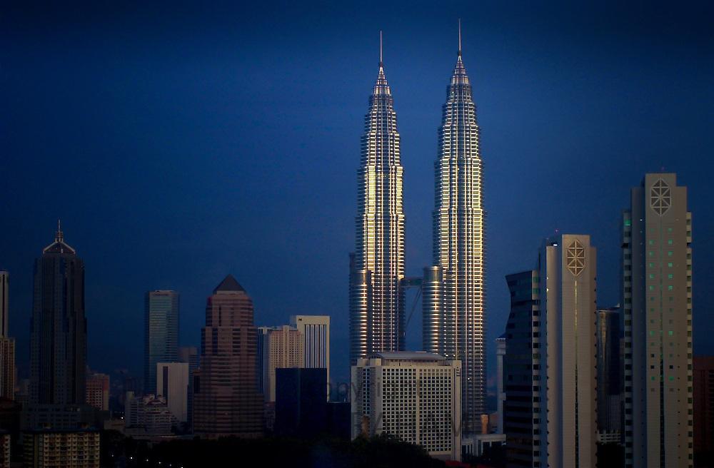 The Petronas Twin Towers in Kuala Lumpur, Malaysia