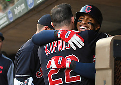 May 31, 2018 - Minneapolis, MN, U.S. - MINNEAPOLIS, MN - MAY 31: Cleveland Indians Shortstop Francisco Lindor (12) is hugged by Cleveland Indians Second base Jason Kipnis (22) after hitting a 3-run home run in the top of the 4th during a MLB game between the Minnesota Twins and Cleveland Indians on May 31, 2018 at Target Field in Minneapolis, MN. The Indians defeated the Twins 9-8.(Photo by Nick Wosika/Icon Sportswire) (Credit Image: © Nick Wosika/Icon SMI via ZUMA Press)