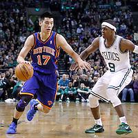 04 March 2012: Boston Celtics point guard Rajon Rondo (9) defends on New York Knicks point guard Jeremy Lin (17) during the Boston Celtics 115-111 (OT) victory over the New York Knicks at the TD Garden, Boston, Massachusetts, USA.