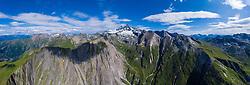 THEMENBILD - Panoramaansicht Kalser Ködnitztal mit Grossglockner (Glockner), höchster Berg Österreichs (3798m) und umliegende Gipfel der Glocknergruppe, Sommer, am Montag 05. August 2019, Kals am Großglockner, Nationalpark Hohe Tauern, Österreich // Panorama view Kalser Kodnitztal valley with Grossglockner (Glockner), highest mountain of Austria with 3.798 meter sea level and surrounding peaks of the Glockner group, summer, on Monday 05. August 2019, Kals am Grosglockner, Hohe Tauern National Park. EXPA Pictures © 2019, PhotoCredit: EXPA/ Johann Groder<br /> <br /> *****ATTENTION - dieses Bilddatei ist in einer maximalen Grösse von 17052 x 6751 pixel (ca. 425 MB) verfügbar! // This image file is available in a maximum size of 17052 x 6751 pixels (about 425 MB)! *****