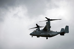 © London News Pictures. 09/07/2012. Farnborough, UK.  A Boeing MV-22 Osprey tiltrotor aircraft giving a flight demonstration on day one of the Farnborough International Airshow, in Farnborough, Hampshire, UK on July 9, 2012. FIA is a seven-day international trade fair for the aerospace industry which is held every two years at Farnborough Airport . Photo credit: Ben Cawthra/LNP.
