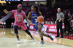 NORMAL, IL - February 10: Ashli O'Neal takes the 3 point line defended by Te Te Maggett during a college women's basketball Play4Kay game between the ISU Redbirds and the Indiana State Sycamores on February 10 2019 at Redbird Arena in Normal, IL. (Photo by Alan Look)