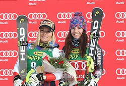 03.12.2017, Lake Louise, CAN, FIS Weltcup Ski Alpin, Lake Louise, Super G, Damen, Siegerehrung, im Bild Lara Gut (SUI),Tina Weirather (LIE) // Lara Gut of Switzerland Tina Weirather of Liechtenstein during the winner ceremony of ladie's Super G of FIS Ski Alpine World Cup in Lake Louise, Canada on 2017/12/03. EXPA Pictures © 2017, PhotoCredit: EXPA/ SM<br /> <br /> *****ATTENTION - OUT of GER*****