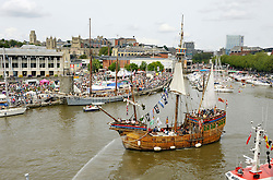 © Licensed to London News Pictures. 21/07/2012. Bristol, UK. Bristol Harbour Festival in Bristol docks.  Picture of The Matthew, a replica of the ship that sailed west from Bristol in 1497, searching for Asia but discovered America instead, before Christopher Colombus.  21 July 2012..Photo credit : Simon Chapman/LNP
