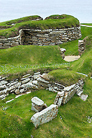 Portion of Skara Brae, a 5000 year old Neolithic village on Mainland, Orkney Islands Scotland