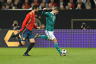 Timo Werner (Germany) and Gerard Pique (Spain) during the International Friendly Game football match between Germany and Spain on march 23, 2018 at Esprit-Arena in Dusseldorf, Germany - Photo Laurent Lairys / ProSportsImages / DPPI