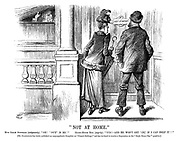 """Not at Home."" Miss Sarah Suffrage (indignantly). ""Oh! 'Out' is he!"" Eight-hours bill (angrily). ""Yus!?And he won't get 'in,' if I can help it!!"" [Mr Gladstone has lately published an unsympathetic pamphlet on ""Female Suffrage,"" and has declined to receive a deputation on the ""Eight hours day"" question.]"