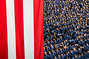 Cadets sit in the bleachers of McAlister Field House before an address from Vice President Mike Pence on Thursday, February 13, 2020.<br /> <br /> Credit: Cameron Pollack / The Citadel