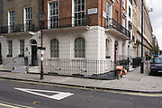 The SE corner of Connaught Square W2 (on the junction with Seymour Street), the location now said by historians to be the site of the medieval Tyburn gallows. Tyburn was a village in the county of Middlesex close to the current location of Marble Arch in present-day London. It took its name from the Tyburn or Teo Bourne 'boundary stream', a tributary of the River Thames which is now completely covered over between its source and its outfall into the Thames. For many centuries, the name was synonymous with capital punishment, its having been the principal place for execution of London criminals and convicted traitors and martyrs.