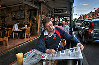 Victorian Premier Ted Baillieu after one year in office. Having breakfast at a Glenferrie rd cafe in Hawthorn. Pic By Craig Sillitoe CSZ/The Sunday Age.21/11/2011 melbourne photographers, commercial photographers, industrial photographers, corporate photographer, architectural photographers, This photograph can be used for non commercial uses with attribution. Credit: Craig Sillitoe Photography / http://www.csillitoe.com<br /> <br /> It is protected under the Creative Commons Attribution-NonCommercial-ShareAlike 4.0 International License. To view a copy of this license, visit http://creativecommons.org/licenses/by-nc-sa/4.0/.