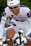 France, Talloire, 22 July 2009: Yauheni Hutarovich (Blr) Française des Jeux on the Côte de Bluffy during Stage 18 - a 40.5 km Annecy to Annecy individual time trial. Photo by Peter Horrell / http://peterhorrell.com .