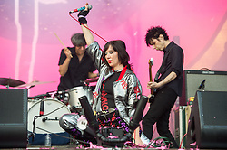 Karen O of Yeah Yeah Yeahs performs on stage on day 1 of All Points East festival in Victoria Park in London, UK. Picture date: Friday 25 May 2018. Photo credit: Katja Ogrin/ EMPICS Entertainment.