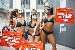 © Licensed to London News Pictures. 17/02/2017. London, UK. Three nearly naked demonstrators, wearing lingerie and crocodile masks, protest against use of exotic animals in fashion industry outside London Fashion Week in central London on 17 February 2017. Photo credit: Tolga Akmen/LNP