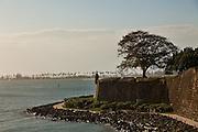 Paseo de la Princesa and view of the harbor Old San Juan, Puerto Rico.