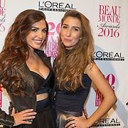 NLD/Amsterdam/20160118 -  Beau Monde Awards 2016, Yolanthe Sneijder Cabau met haar zus Xelly Cabau van Kasbergen