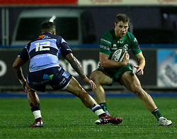 Kyle Godwin of Connacht under pressure from Rey Lee-Lo of Cardiff Blues<br /> <br /> Photographer Simon King/Replay Images<br /> <br /> Guinness PRO14 Round 14 - Cardiff Blues v Connacht - Saturday 26th January 2019 - Cardiff Arms Park - Cardiff<br /> <br /> World Copyright © Replay Images . All rights reserved. info@replayimages.co.uk - http://replayimages.co.uk