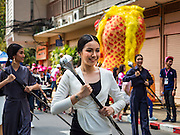 13 FEBRUARY 2016 - BANGKOK, THAILAND: Students from Chulalongkorn University parade into National Stadium before the Chula - Thammasat University football match. Thailand's two leading public universities, at their annual football (soccer) match rivalry. 2016 was the 71st game in the rivalry.        PHOTO BY JACK KURTZ