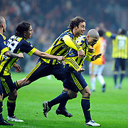 Fenerbahce's Alexsandro de SOUZA (R) celebrate his goal with team mate during their Turkish superleague soccer derby match Galatasaray between Fenerbahce at the Turk Telekom Arena in Istanbul Turkey on Friday, 18 March 2011. Photo by TURKPIX