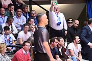 Red October Cantu tifosi, Saverio Lanzarini arbitro<br /> Red October Pallacanestro Cantu - EA7 Emporio Armani Olimpia Milano<br /> LegaBasket Serie A 2017/2018<br /> Desio, 15/04/2018<br /> Foto M.Ceretti / Ciamillo-Castoria