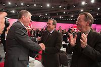 09 DEC 2012, HANNOVER/GERMANY:<br /> Peer Steinbrueck, desig. SPD Kanzlerkandidat fuer die BT-Wahl, nach seiner Rede mit Gerhard Schroder, SPD, Bundeskanzler a.D., und Franz Muentefering, SPD, ehem. Parteivorsitzender und Bundesminister a.D., SPD Bundesparteitag, Messe Hannover<br /> IMAGE: 20121209-01-292<br /> KEYWORDS: Parteitag, Party Congress, Peer Steinbrück, Jubel, applaudieren, klatschen, Gerhard Schröder, Franz Müntefering