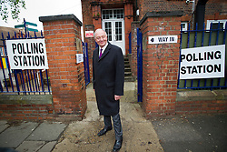 © London News Pictures. 03/05/2012. London, UK.  Labour Mayoral candidate KEN LIVINGSTONE arriving at his local polling station at Nora Primary School in Cricklewood, London to vote in the 2012 London mayoral elections on May 3, 2012. Photo credit: Ben Cawthra/LNP