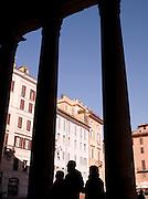 Columns and Piazza Della Rotonda from the Patheon, Rome, Italy.
