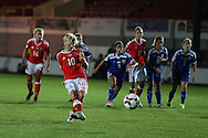 Jessica Fishlock of Wales women takes a penalty late in the game but sees it saved by Merav Shamir , the Israel goalkeeper.UEFA Womens Euro qualifying match, Wales Women v Israel Women at Rodney Parade in Newport, South Wales on Thursday 15th September 2016.<br /> pic by Andrew Orchard, Andrew Orchard sports photography.