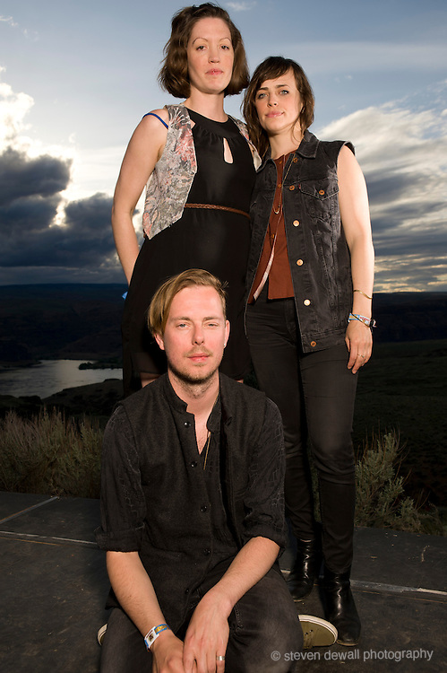 Quincy, WA - MAY 25: Søren Løkke Juul of Indians poses with his band for a portrait backstage at the Gorge Amphitheater on May 25, 2013 in Quincy, Washington. (Photo by Steven Dewall/Redferns via Getty Images)