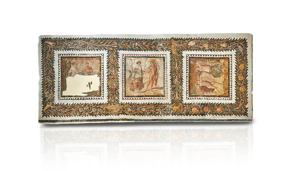 Picture of a Roman mosaics design depicting scenes from mythology, from the ancient Roman city of Thysdrus. End of 2nd century AD, House in Jiliani Guirat area. El Djem Archaeological Museum, El Djem, Tunisia. Against a white background<br /> <br /> This Roman mosaic depicts Aurore enticing Cephane, Apollo enticing Cyrene and Apollo persuing Daphne .<br /> <br /> If you prefer to buy from our ALAMY PHOTO LIBRARY Collection visit : https://www.alamy.com/portfolio/paul-williams-funkystock/roman-mosaic.html . Type - El Djem - into the LOWER SEARCH WITHIN GALLERY box. Refine search by adding background colour, place, museum etc<br /> <br /> Visit our ROMAN MOSAIC PHOTO COLLECTIONS for more photos to download as wall art prints https://funkystock.photoshelter.com/gallery-collection/Roman-Mosaics-Art-Pictures-Images/C0000LcfNel7FpLI