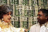 DURBAN - 30 May 2007 - Evita Bezuidenhout (a.k.a Pieter Dirk Uys) meets with Durban's deputy mayor Logie Naidoo so she could give him tips on how to dress for an upcoming women's fun walk..Bezuidenhout made this visit in promotion of her show, Evita for President..(For those not in the know Uys has played this character for more than 20 years mocking the political establishment.).Picture: Giordano Stolley/Allied Picture Press