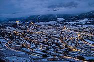 La ville de Sion de nuit sour la neige en hiver le 18 décembre 2017<br /> <br /> (PHOTO-GENIC.CH/ OLIVIER MAIRE)<br /> <br /> La suisse romande est candidate pour l'organisation des Jeux olympiques d'hiver 2026 sous l'egide de Sion 2026. La population valaisanne votera sur les JO le 10 juin <br /> Sion is a candidate for the organization of the Olympic Winter Games 2026 under the aegis of Sion 2026.