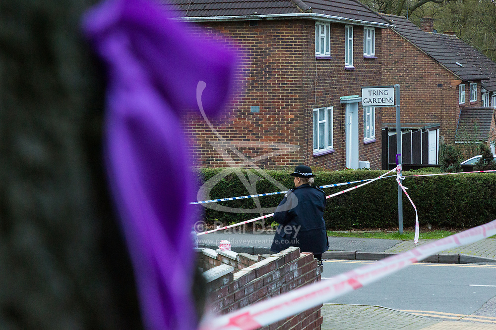 A Purple ribbon remembers Jodie Chesney who was stabbed to death nearby just a few weeks previously at crime scene cordon near Havering College of Further and Higher Education in Tring Gardens, Harold Hill, Romford, where eyewitnesses say a student was stabbed before being brought to the college where he was taken to hospital by the London Air Ambulance. London, March 19 2019.