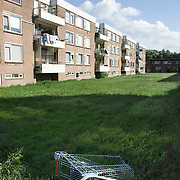 Nederland Rotterdam 01-06-2009 20090601 Foto: David Rozing   ..Achterstandswijk Pendrecht Rotterdam zuid, op een grasveld is een winkelwagentje achtergelaten. Rommel laten slingeren. deprived area / projects âEURoeKatendrecht âEURoe This area is on a list with projects which need help of the government because of degradation in the area etc., project, suburb, suburbian, problem. Neighboorhood, neighboorhoods, district, city, problems,  daily life Holland, The Netherlands, dutch, Pays Bas, Europe ..Foto: David Rozing