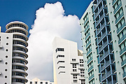 Art deco architecture Royal Palm hotel and high rise apartment blocks Miami South Beach, Florida, USA