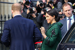 © Licensed to London News Pictures. 11/03/2019. London, UK. The Duke and Duchess of Sussex arrive at Canada House to attend a Commonwealth Day youth event. The event celebrates young Canadians living in London and around the UK Photo credit : Tom Nicholson/LNP