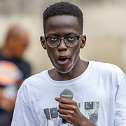 An activist delivers a speech in front of mass gathered in Marble Arch, Central London, on Sunday, July 19, 2020 - after The Black Lives Matter movement invited people to continue the eighth weekend of anti-racism protests in Britain.(VXP Photo/ Vudi Xhymshiti)