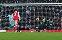 Football - 2016 / 2017 Premier League - Arsenal vs. Burnley<br /> <br /> Andre Gray of Burnley scores his goal from the penalty spot , past Petr Cech at The Emirates.<br /> <br /> COLORSPORT/ANDREW COWIE