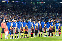 the players of FC Porto at the line up DFL REGULATIONS PROHIBIT ANY USE OF PHOTOGRAPHS AS IMAGE SEQUENCES AND/OR QUASI-VIDEO. during the UEFA Champions League group D match between Schalke 04 and FC Porto at the Arena auf Schalke on September 18, 2018 in Gelschenkirchen, Germany
