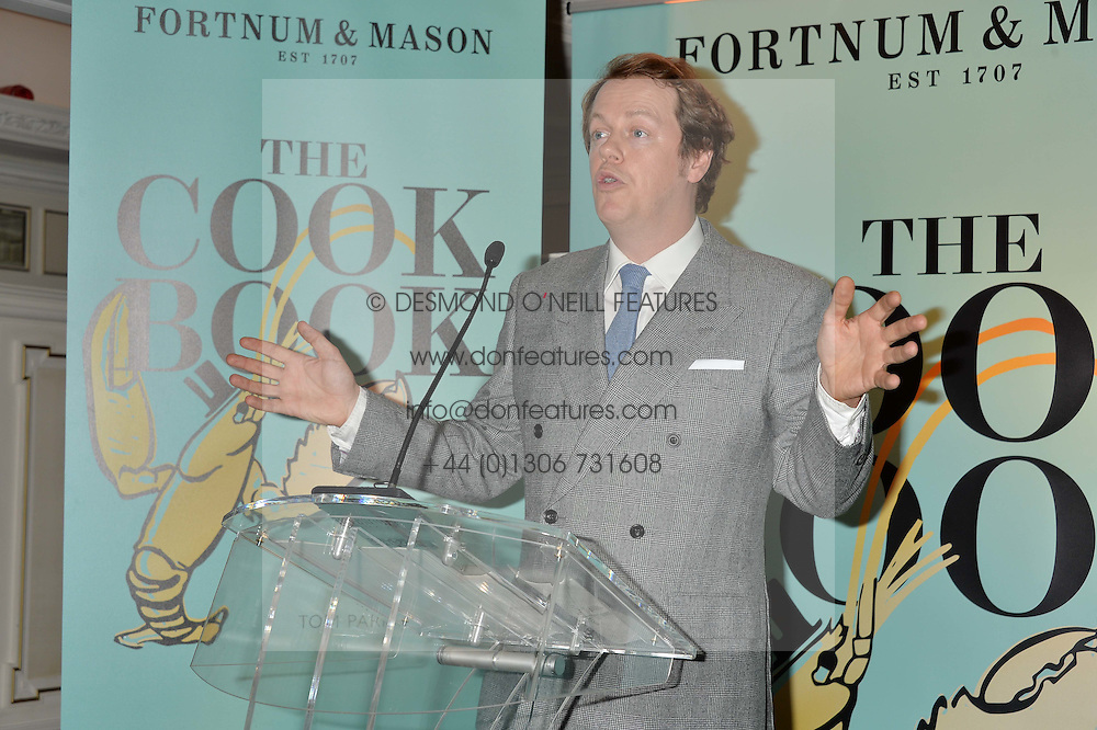TOM PARKER BOWLES at a party hosted by Ewan Venters CEO of Fortnum & Mason to celebrate the launch of The Cook Book by Tom Parker Bowles held at Fortnum & Mason, 181 Piccadilly, London on 18th October 2016.