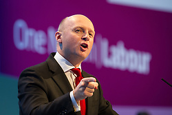 © Licensed to London News Pictures . 23/09/2013 . Brighton , UK . LIAM BYRNE , Shadow Secretary of State for Work and Pensions , addresses the conference this afternoon (Monday 23rd September 2013) on Work and Business Stability and Prosperity. Day 2 of the Labour Party 's annual conference in Brighton . Photo credit : Joel Goodman/LNP