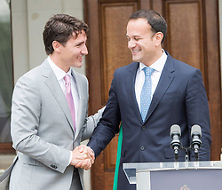Prime Minister Justin Trudeau shakes hands with Irish Taoiseach Leo Varadkar after their meeting at Farmleigh House Tuesday, July 4, 2017 in Dublin, Ireland. Photo by Ryan Remiorz/CP/ABACAPRESS.COM