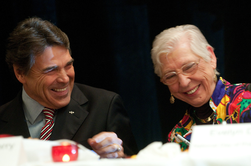 Mark Matson for American-Statesman (5/4/10)  The Texas State Prayer Breakfast, part of the National Day of Prayer activites,  was held Tuesday morning at the Doubletree Hotel in Austin. Texas Governor Rick Perry shares a laugh with Evelyn Davison, the local coordinator of the National Day of Prayer.