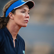 PARIS, FRANCE October 06. Danielle Collins of the United States during her match against Ons Jabeur of Tunisia in the fourth round of the singles competition on Court Philippe-Chatrier during the French Open Tennis Tournament at Roland Garros on October 6th 2020 in Paris, France. (Photo by Tim Clayton/Corbis via Getty Images)