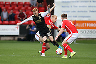 James Brophy of Swindon Town is tackled by Lauri Dalla Valle of Crewe Alexandra. Skybet football league 1 match, Crewe Alexandra v Swindon Town at The Alexandra Stadium in Crewe, Cheshire on Saturday 5th September 2015.<br /> pic by Chris Stading, Andrew Orchard sports photography.