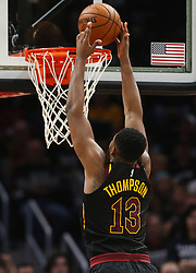 April 29, 2018 - Cleveland, OH, USA - Cleveland Cavaliers center Tristan Thompson scores over the Indiana Pacers in the second quarter of Game 7 of the Eastern Conference First Round series on Sunday, April 29, 2018 at Quicken Loans Arena in Cleveland, Ohio. The Cavs won the game, 105-101. (Credit Image: © Leah Klafczynski/TNS via ZUMA Wire)