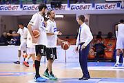 DESCRIZIONE : Brindisi  Lega A 2015-15 Enel Brindisi Dolomiti Energia Trento<br /> GIOCATORE : Davide Pascolo Giuseppe Poeta Marco Esposito<br /> CATEGORIA : Before Pregame Fair Play Allenatore Coach<br /> SQUADRA : Enel Brindisi Dolomiti Energia Trento<br /> EVENTO : Lega A 2015-2016<br /> GARA :Enel Brindisi Dolomiti Energia Trento<br /> DATA : 25/10/2015<br /> SPORT : Pallacanestro<br /> AUTORE : Agenzia Ciamillo-Castoria/M.Longo<br /> Galleria : Lega Basket A 2015-2016<br /> Fotonotizia : Enel Brindisi Dolomiti Energia Trento<br /> Predefinita :